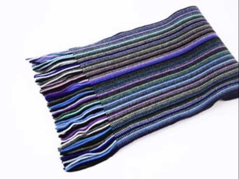 Blue Mix Stripes 2 Ply Cashmere Scarf from The Scarf Company - Made in Scotland