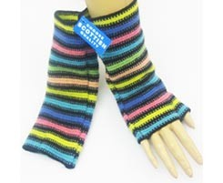 The Scarf Company 100% Lambswool Ladies Wristlets - Striped