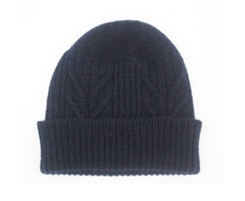 The Scarf Company 100% Cashmere 3 Ply Hat - Navy Cable