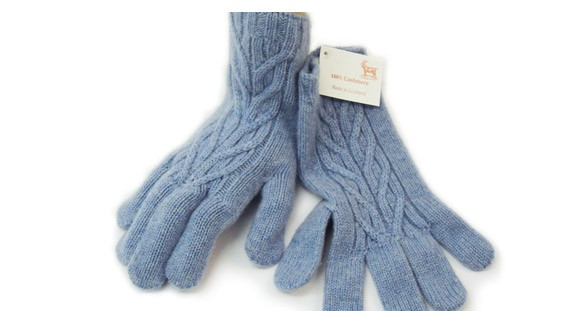 The Scarf Company Blue Haze Cashmere 3 Ply Ladies' Cable Knit Gloves