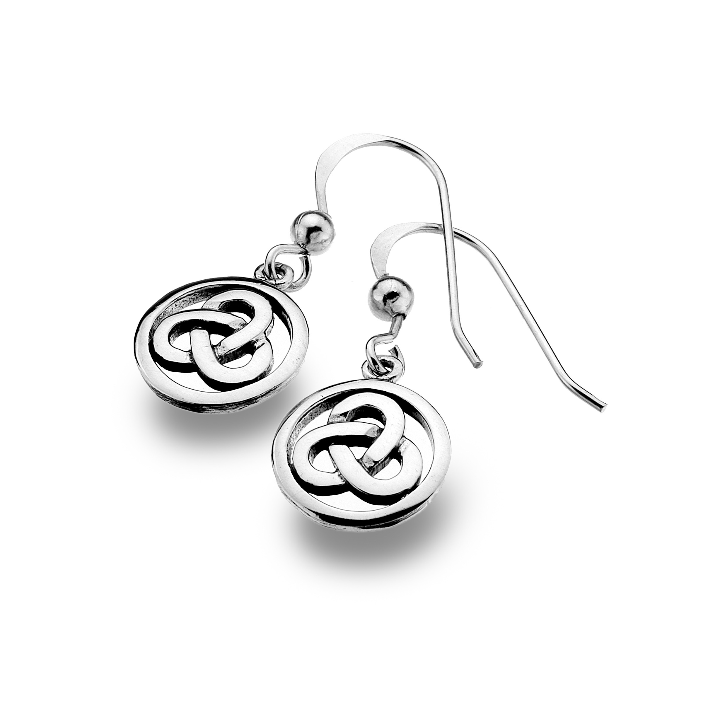 Celtic Knot in Circle Sterling Silver Earrings
