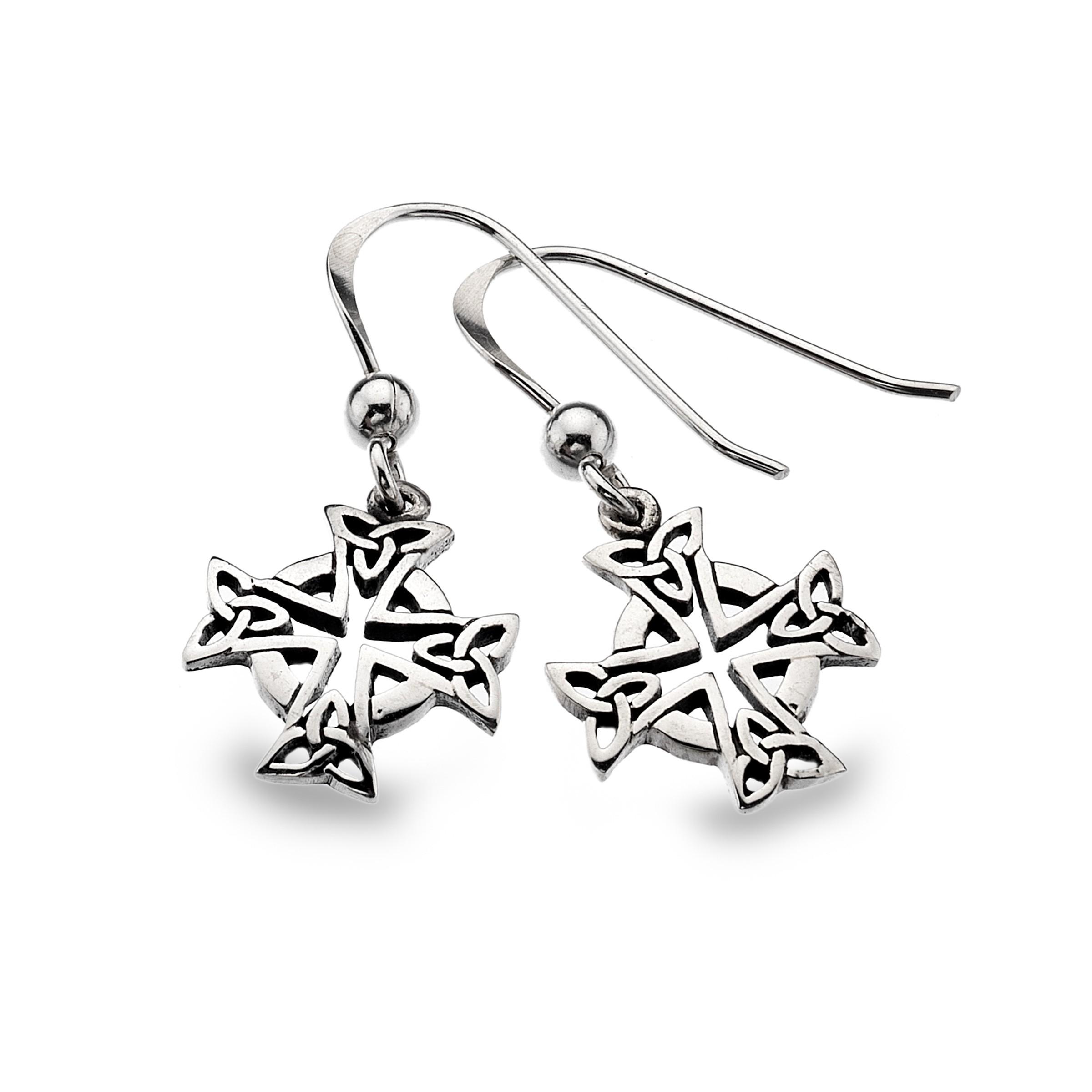 Celtic Cross Head Sterling Silver Earrings