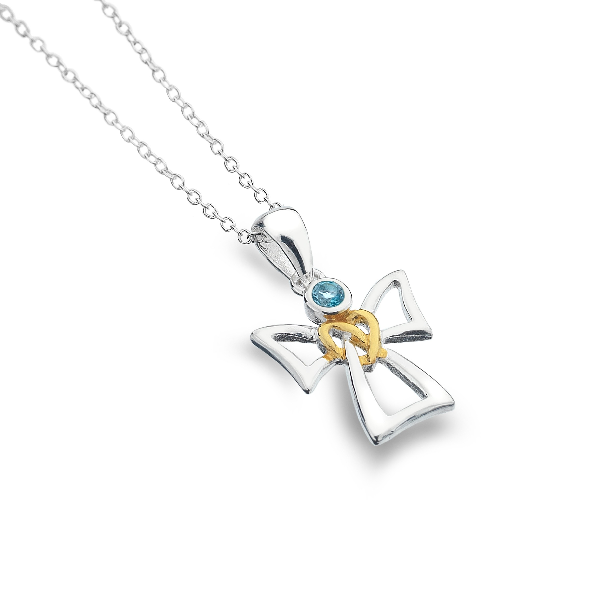 Celtic Angel & Topaz Sterling Silver Pendant Necklace