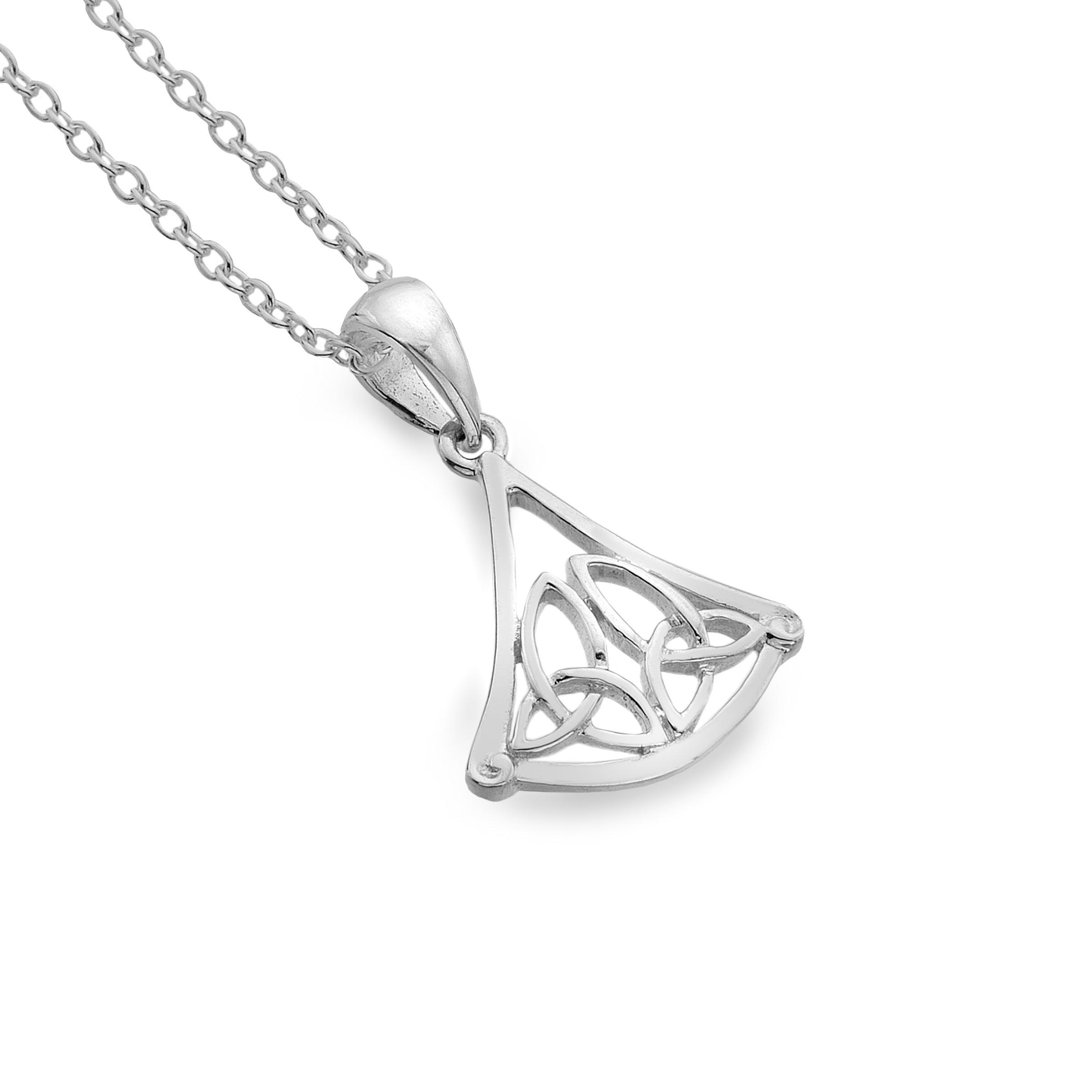 Celtic Trinity Knots Triangle Sterling Silver Pendant Necklace