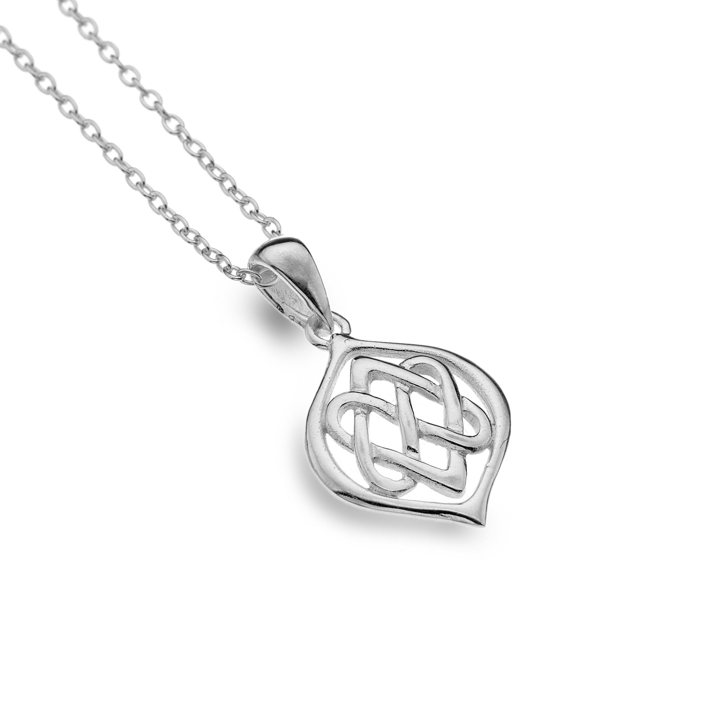 Celtic Two Hearts Entwined Sterling Silver Pendant Necklace