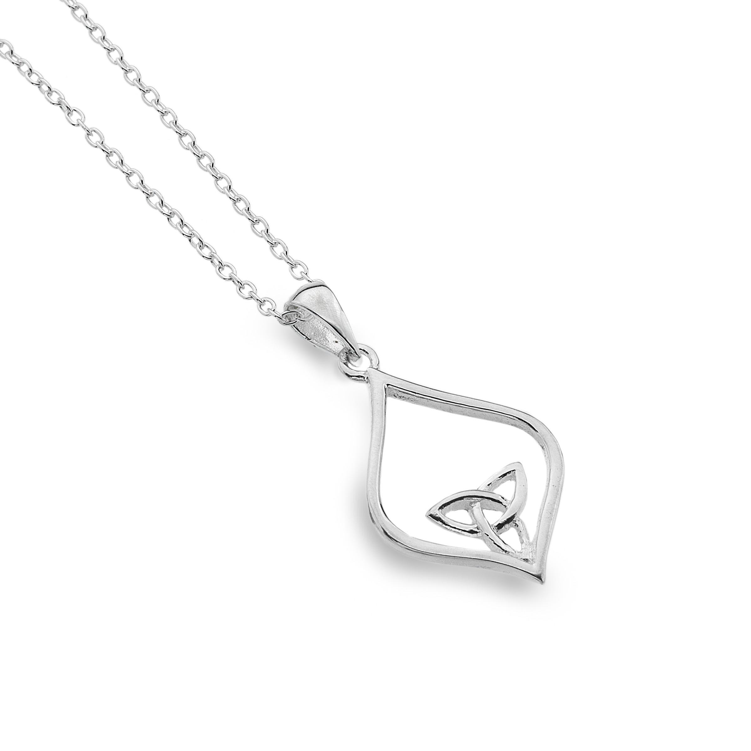 Celtic Trinity Knot Oval Point Sterling Silver Pendant Necklace