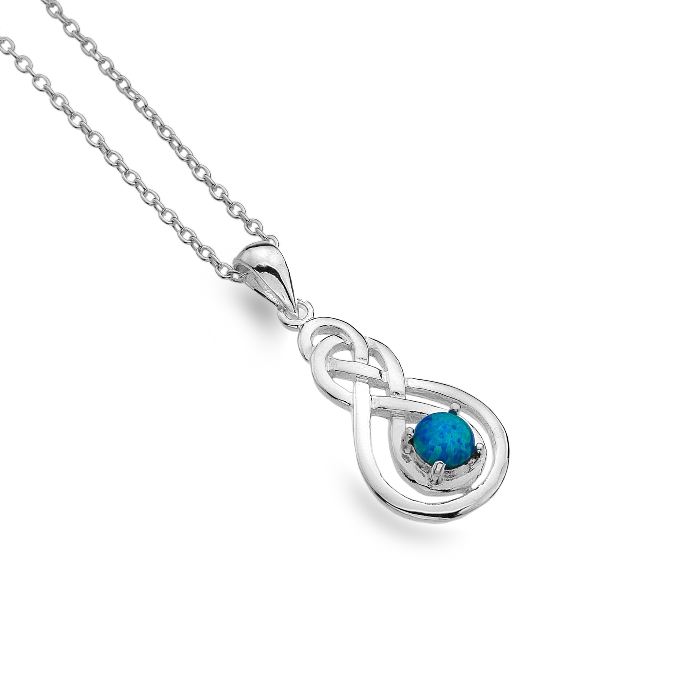 Celtic Double Knot Blue Opal Sterling Silver Pendant Necklace