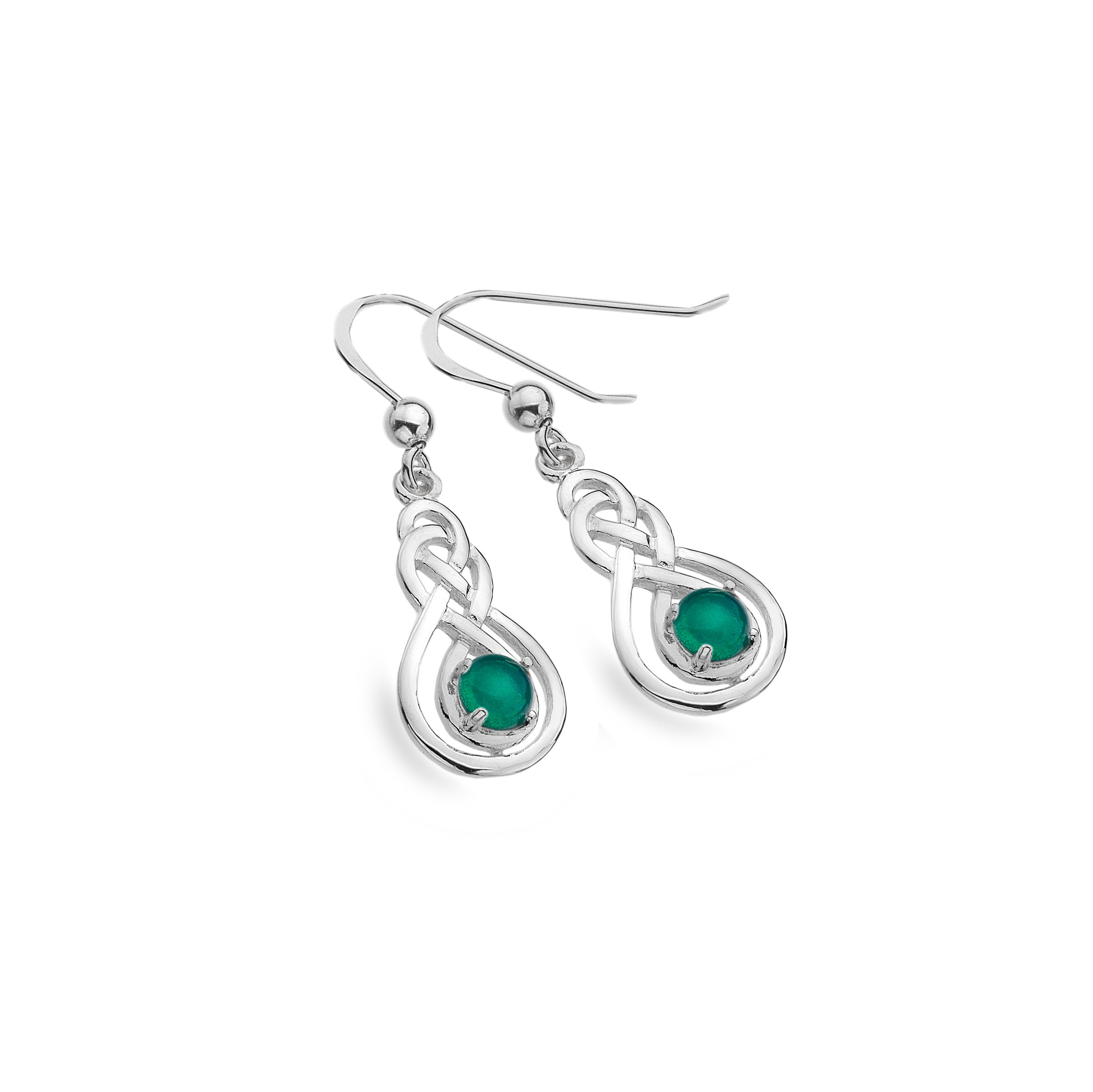 Celtic Double Knot & Green Agate Sterling Silver Earrings
