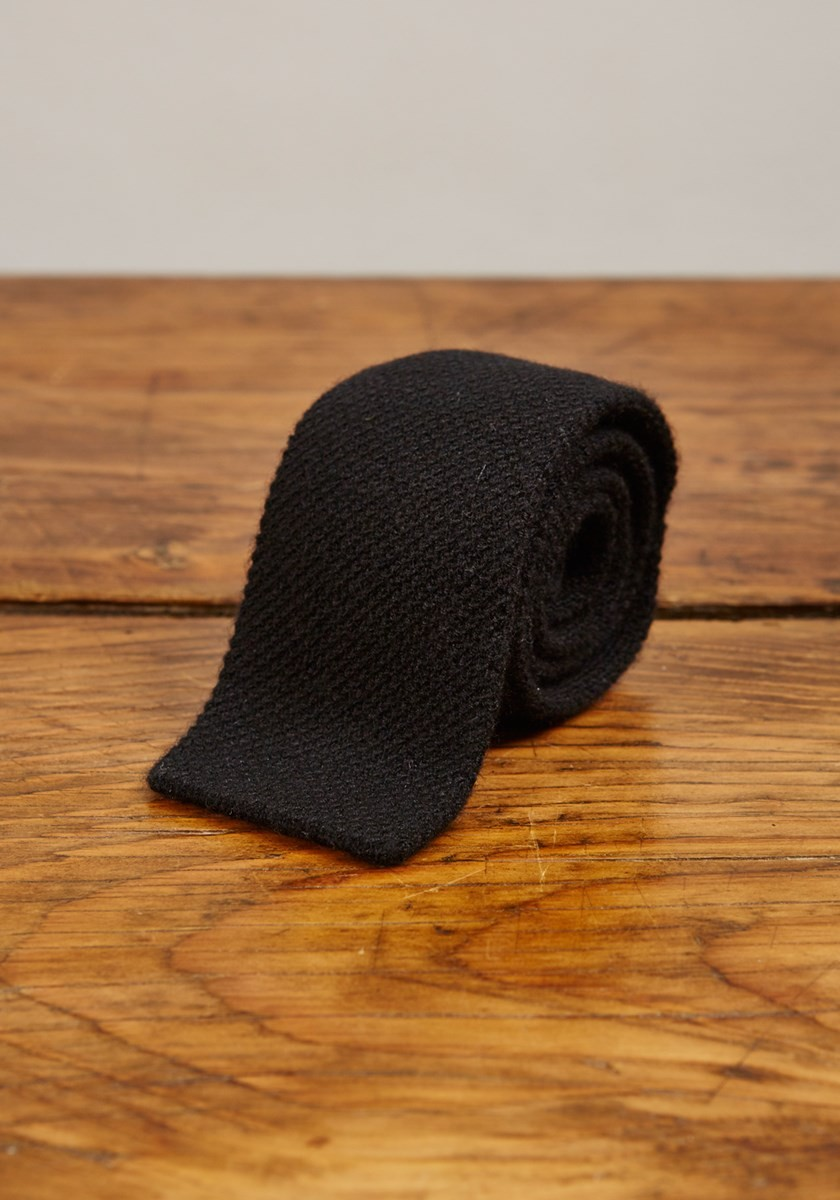 Cashmere Narrow Knitted Tie - Black