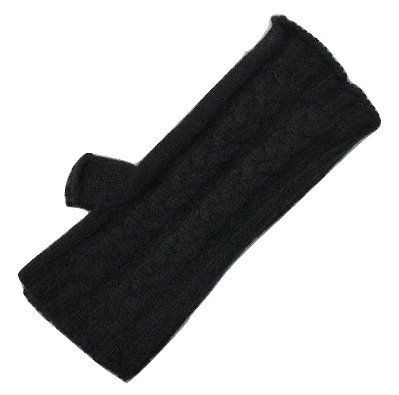 The Scarf Company Black 3 Ply Cable Knit Cashmere Ladies Fingerless Mitts/Gloves