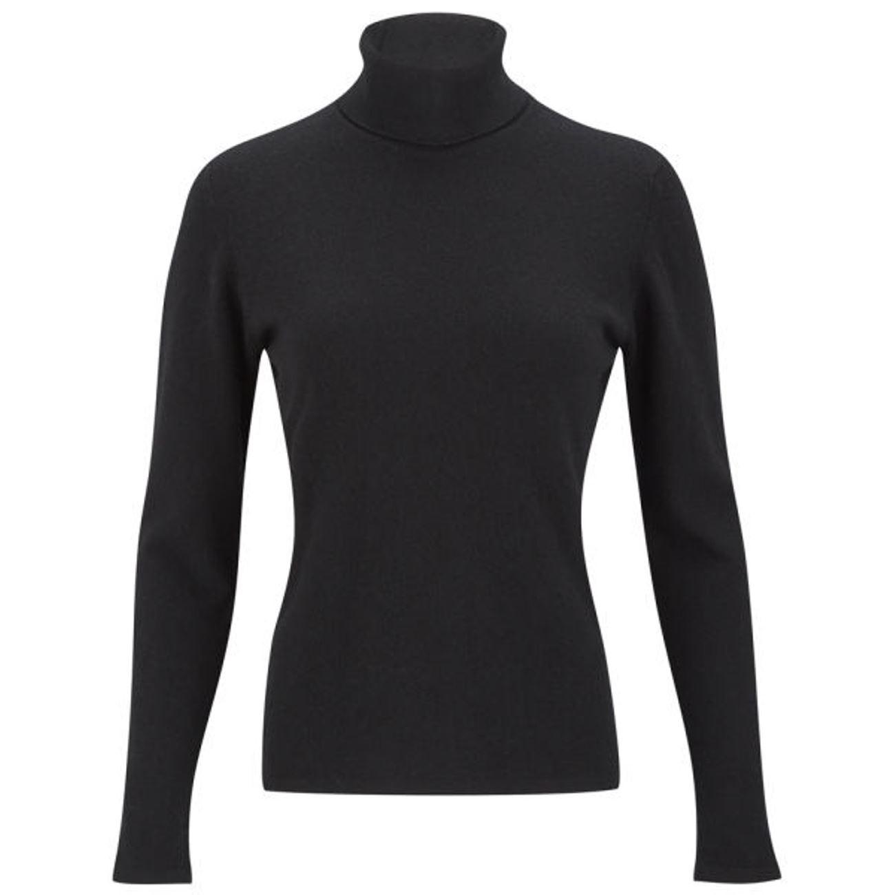 Black Ladies' Roll Neck - 100% Cashmere Made in Scotland
