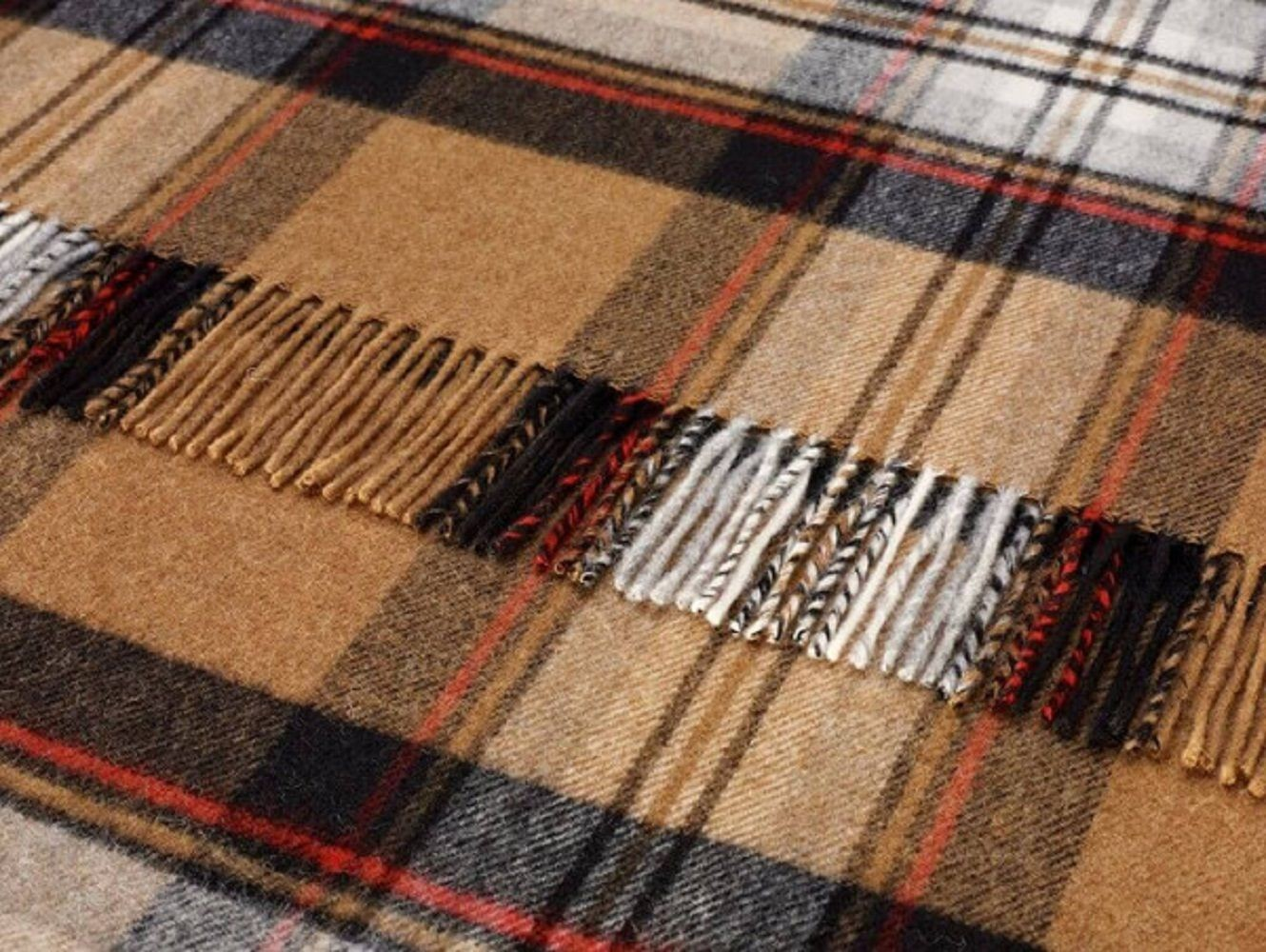Bronte by Moon 100% Lambswool Tartan Throw - Camel Stewart
