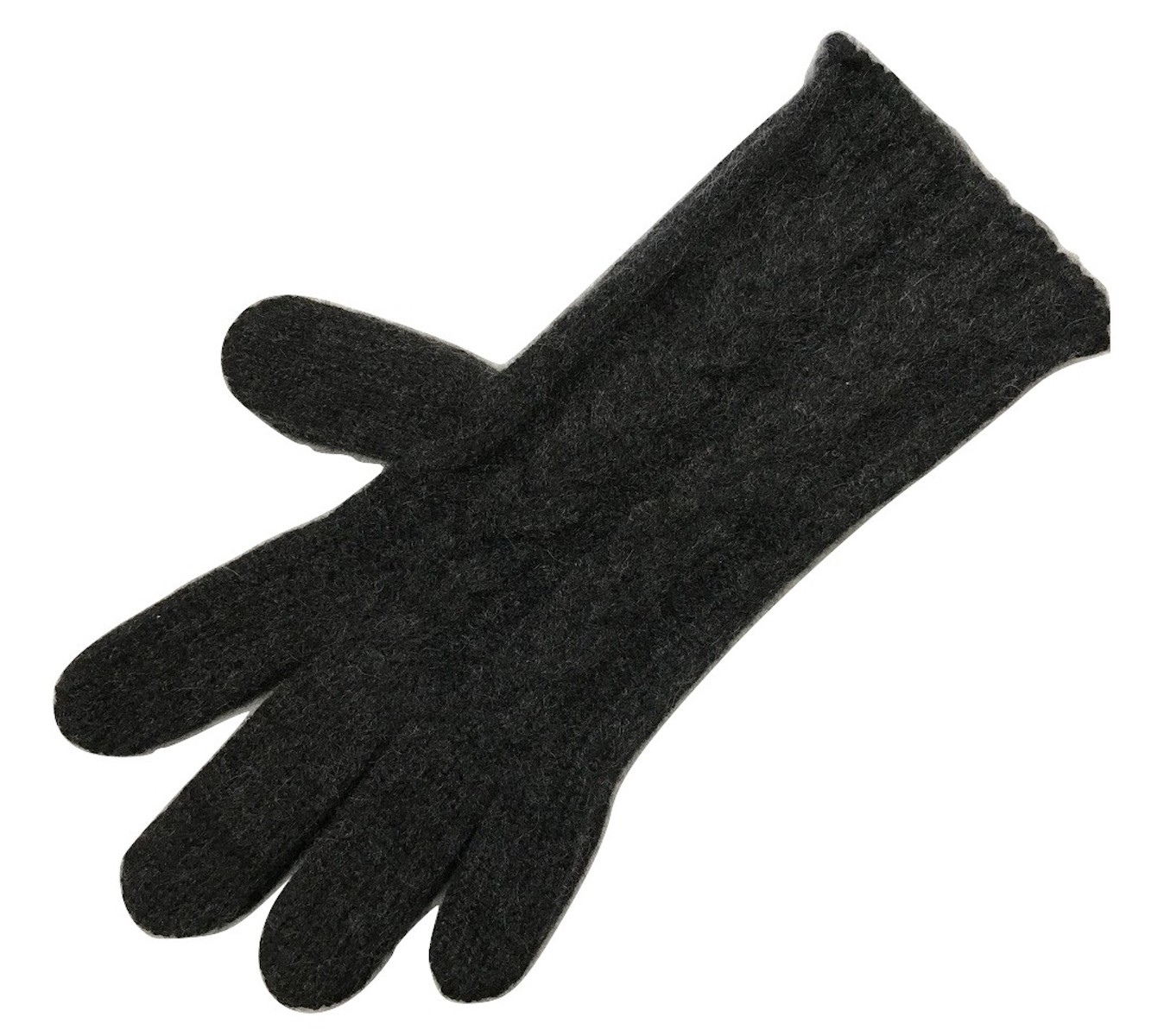 The Scarf Company Charcoal 3 Ply Cable Knit Cashmere Ladies Gloves