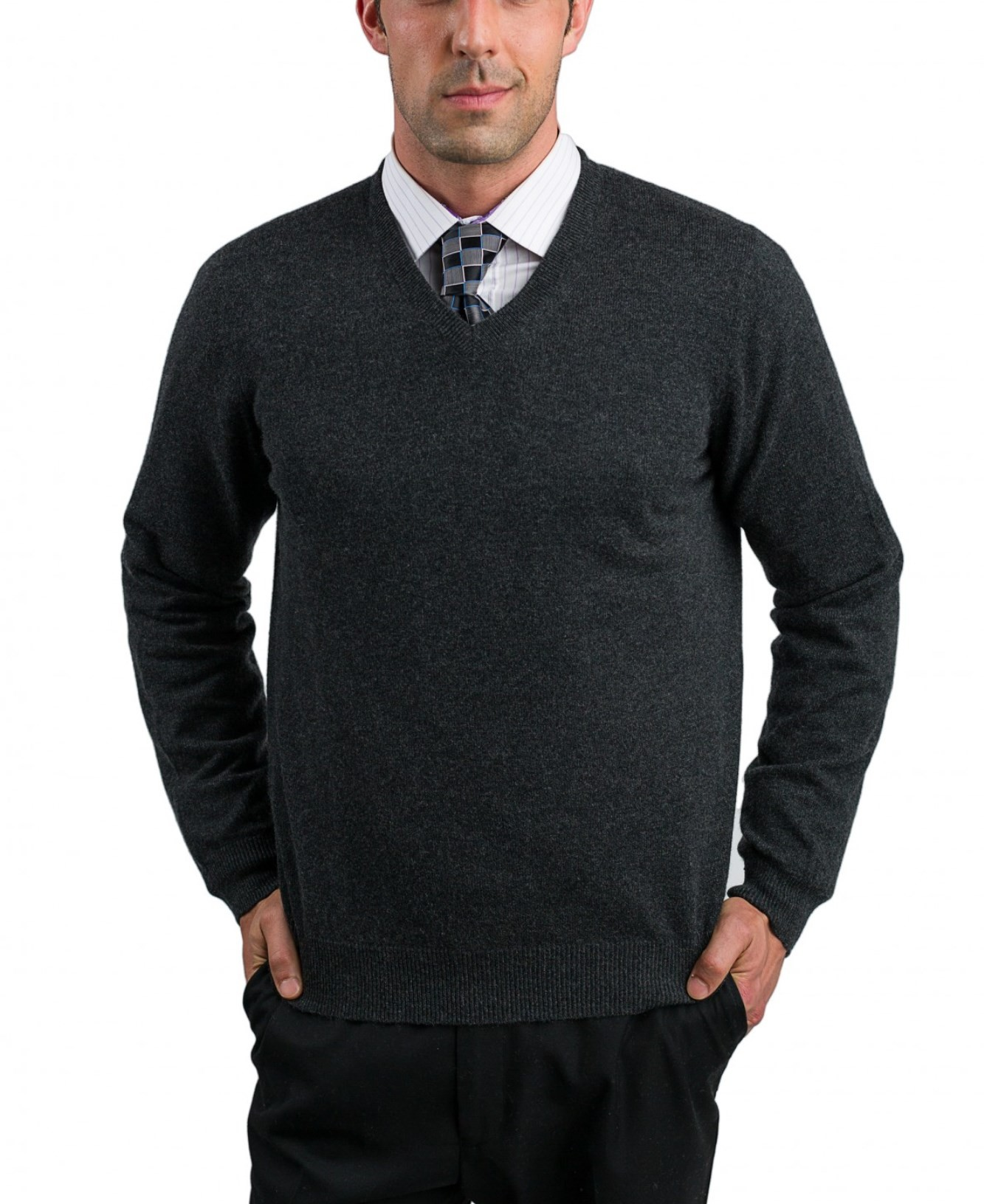 Charcoal Men's V-Neck Sweaters - 100% Cashmere Made in Scotland