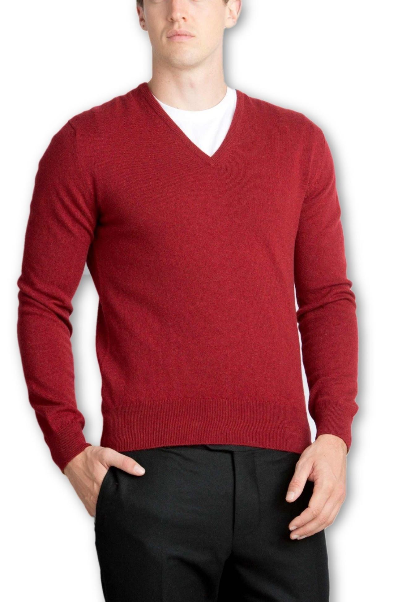 Claret Men's V-Neck Sweaters - 100% Cashmere Made in Scotland