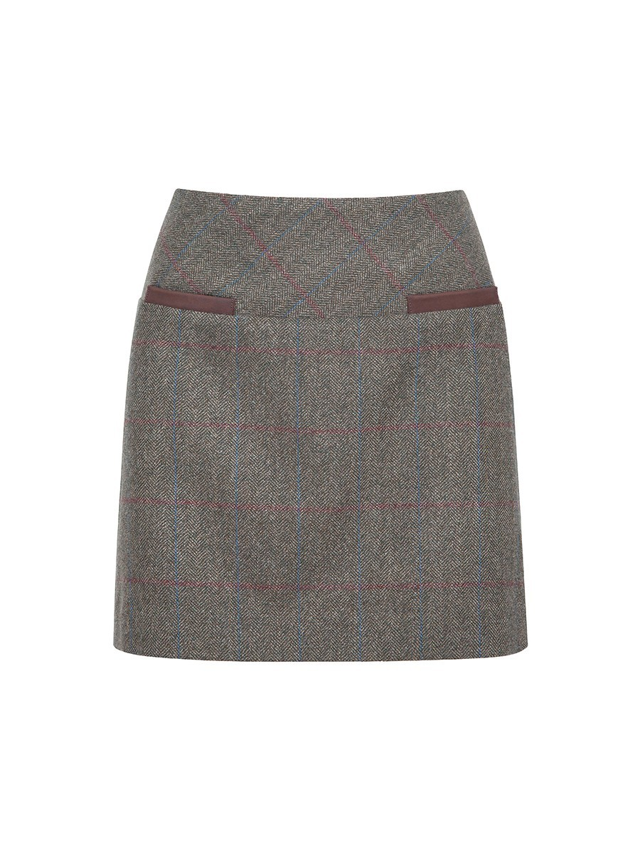 Clover Tweed Mini Skirt in Moss by Dubarry
