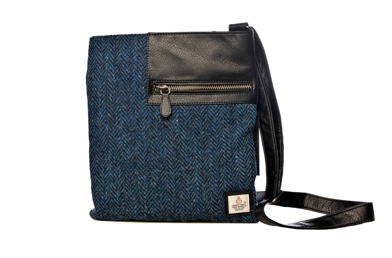 Maccessori Harris Tweed Medium Cross Body Bag in Blue Herringbone