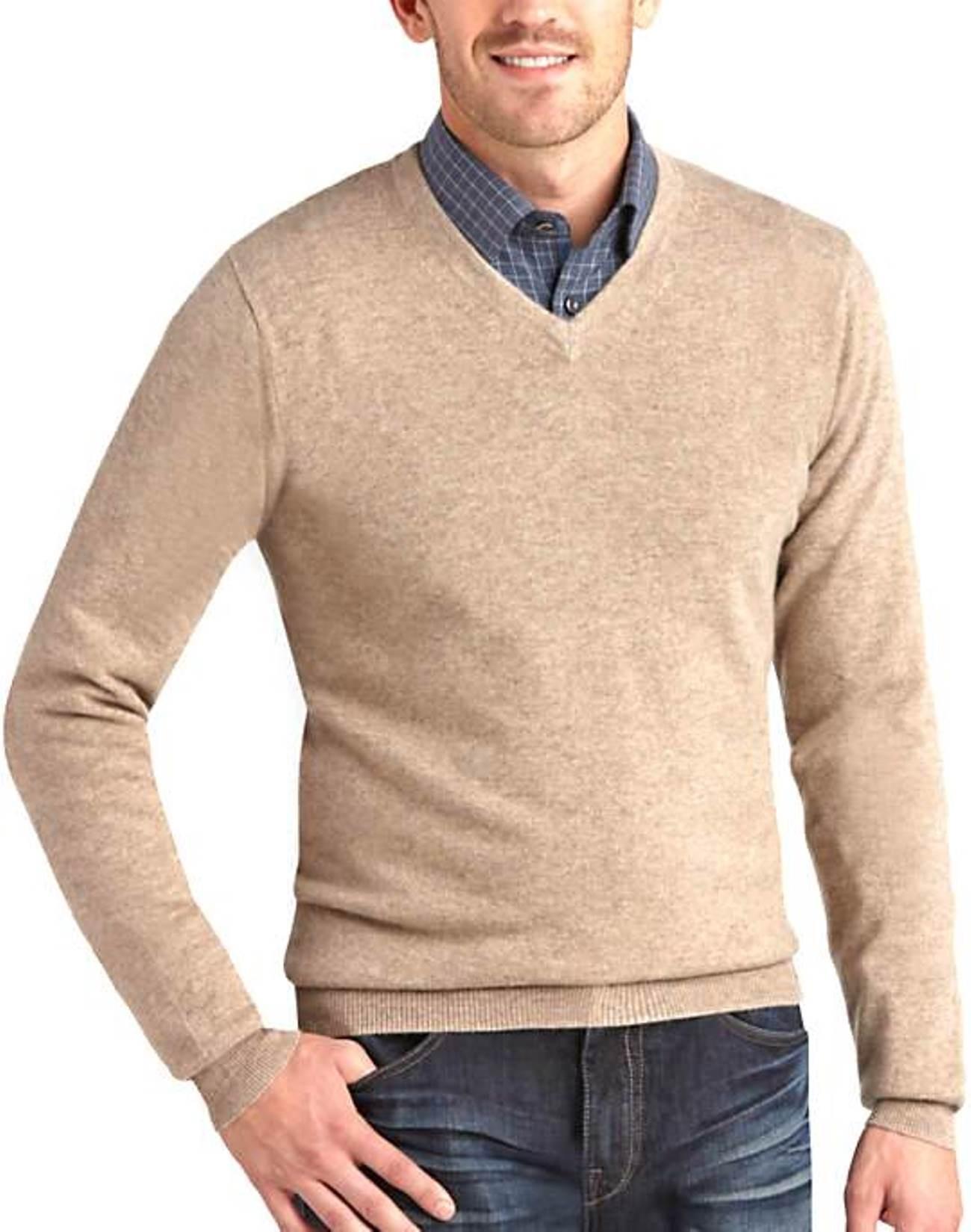 Beige Men's V-Neck Sweaters - 100% Cashmere Made in Scotland