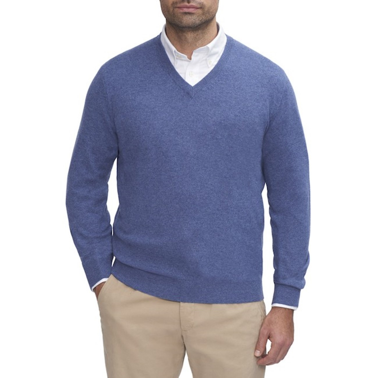 Mens Blue V-Neck Sweater - 100% Cashmere Made in Scotland