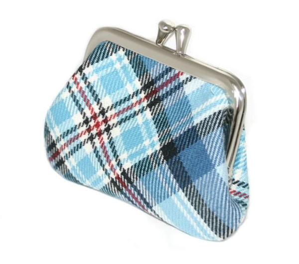 Lochcarron Princess Diana Blue Memorial Tartan Small Coin Purse - Made in Scotland