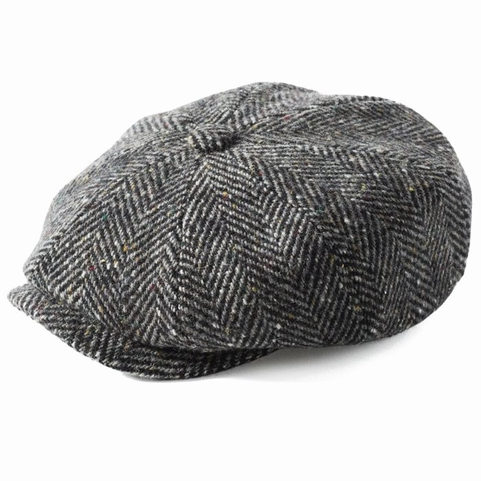 Failsworth Donegal Mayo Bakerboy Hat in Grey Herringbone 873 Irish Tweed