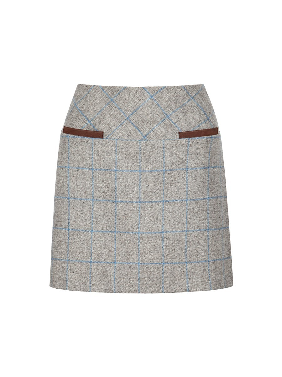 Clover Tweed Mini Skirt in Shale by Dubarry