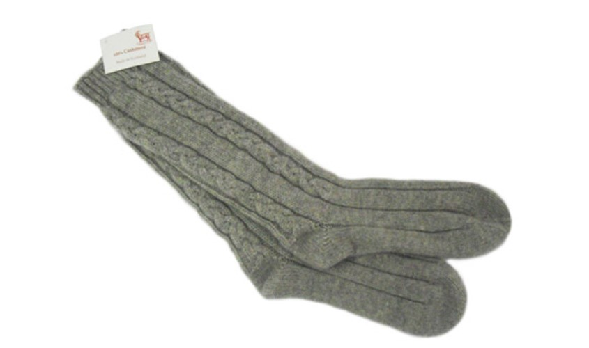 Flannel Grey 100% Cashmere 3 Ply Cable Ladies Bed Socks from the Scarf Company