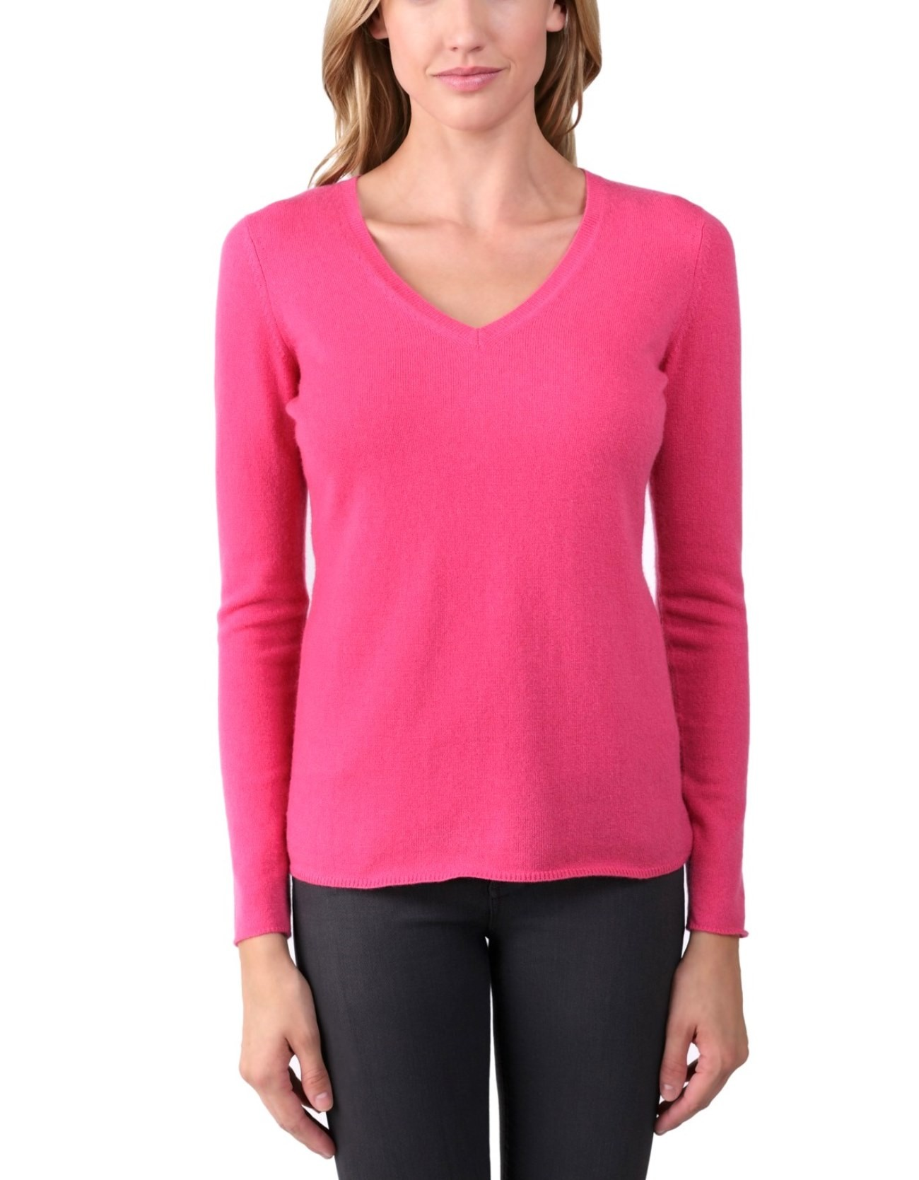 Fuchsia Ladies' V-Neck Sweater - 100% Cashmere Made in Scotland