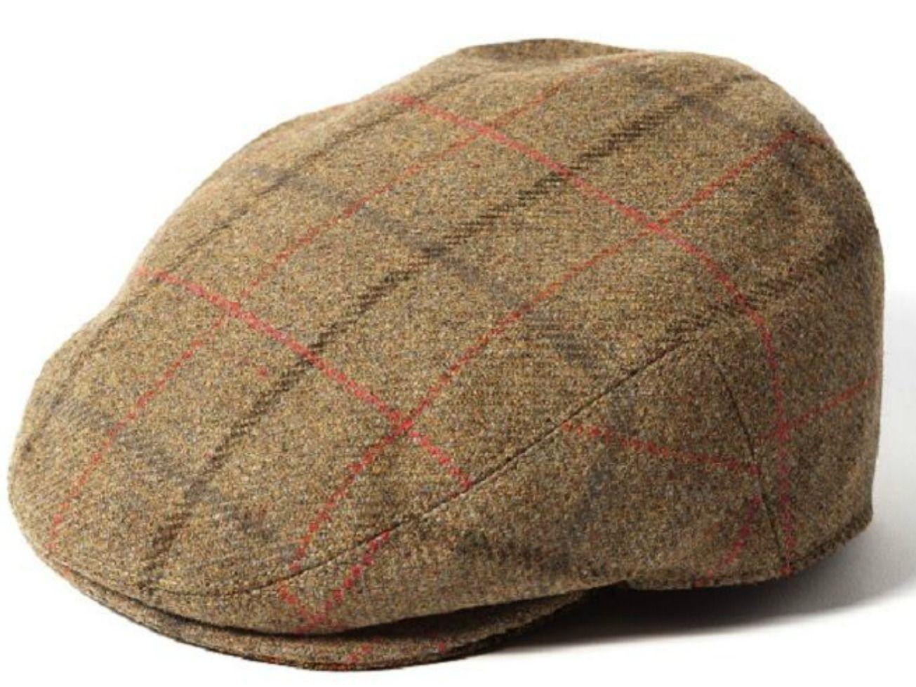 Failsworth Gamekeeper Tweed Flat Cap - Green/Red Windowpane Check