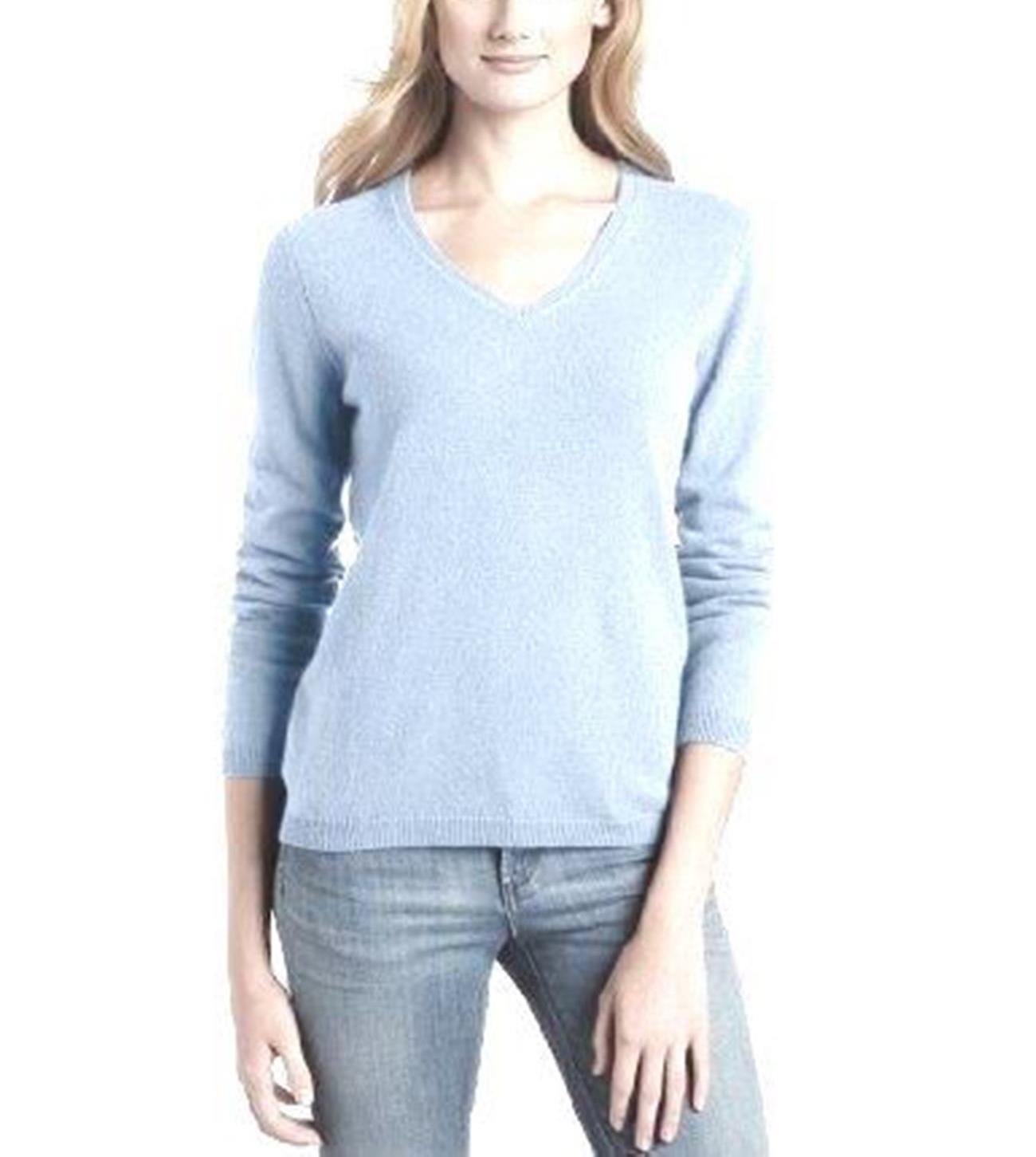 Glacier Ladies' V-Neck Sweater - 100% Cashmere Made in Scotland
