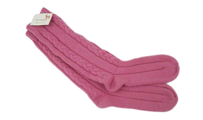 Gossip Pink 100% Cashmere 3 Ply Cable Ladies Bed Socks from the Scarf Company