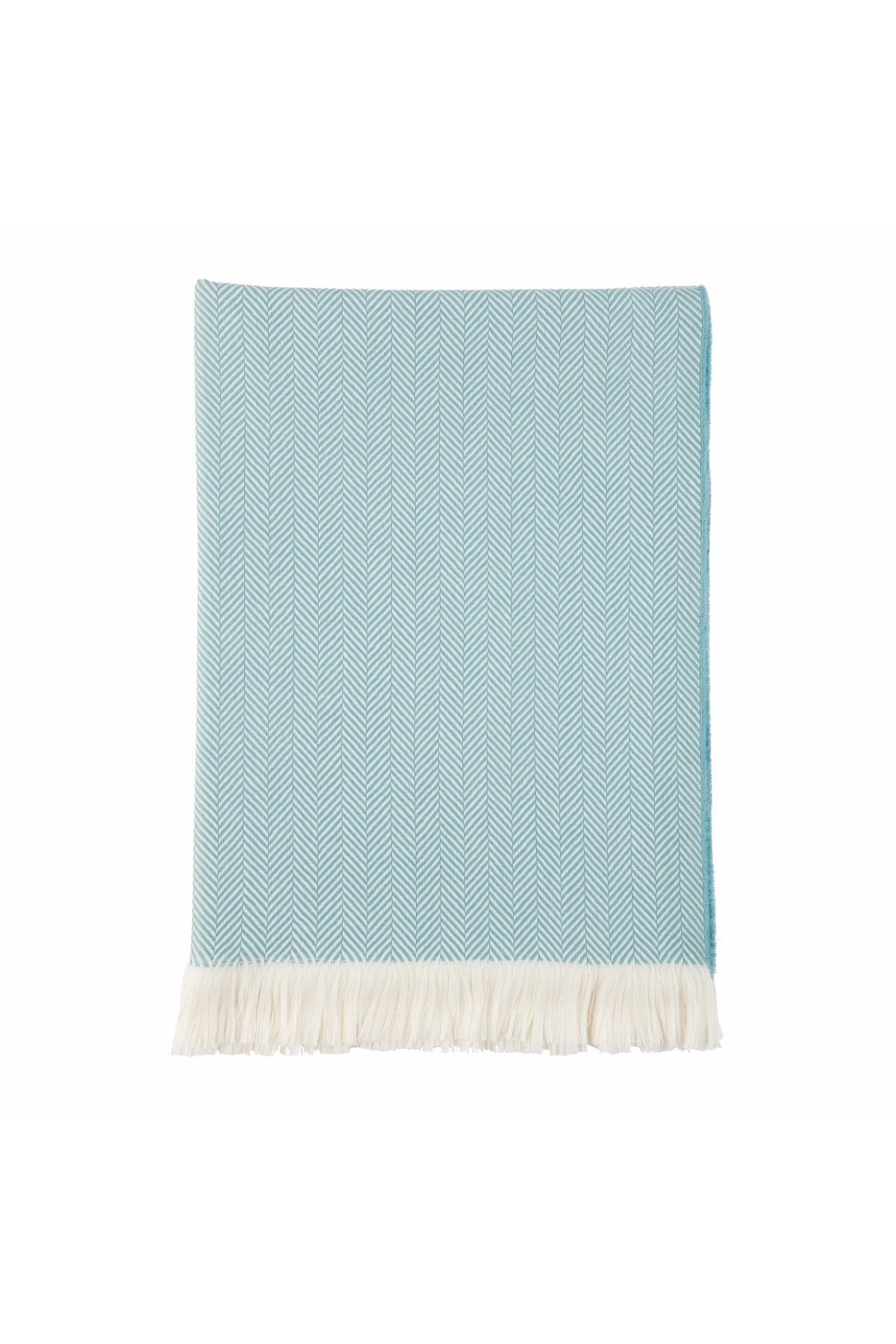 Johnston's of Elgin Extra Fine Merino Herringbone Throw - Aqua