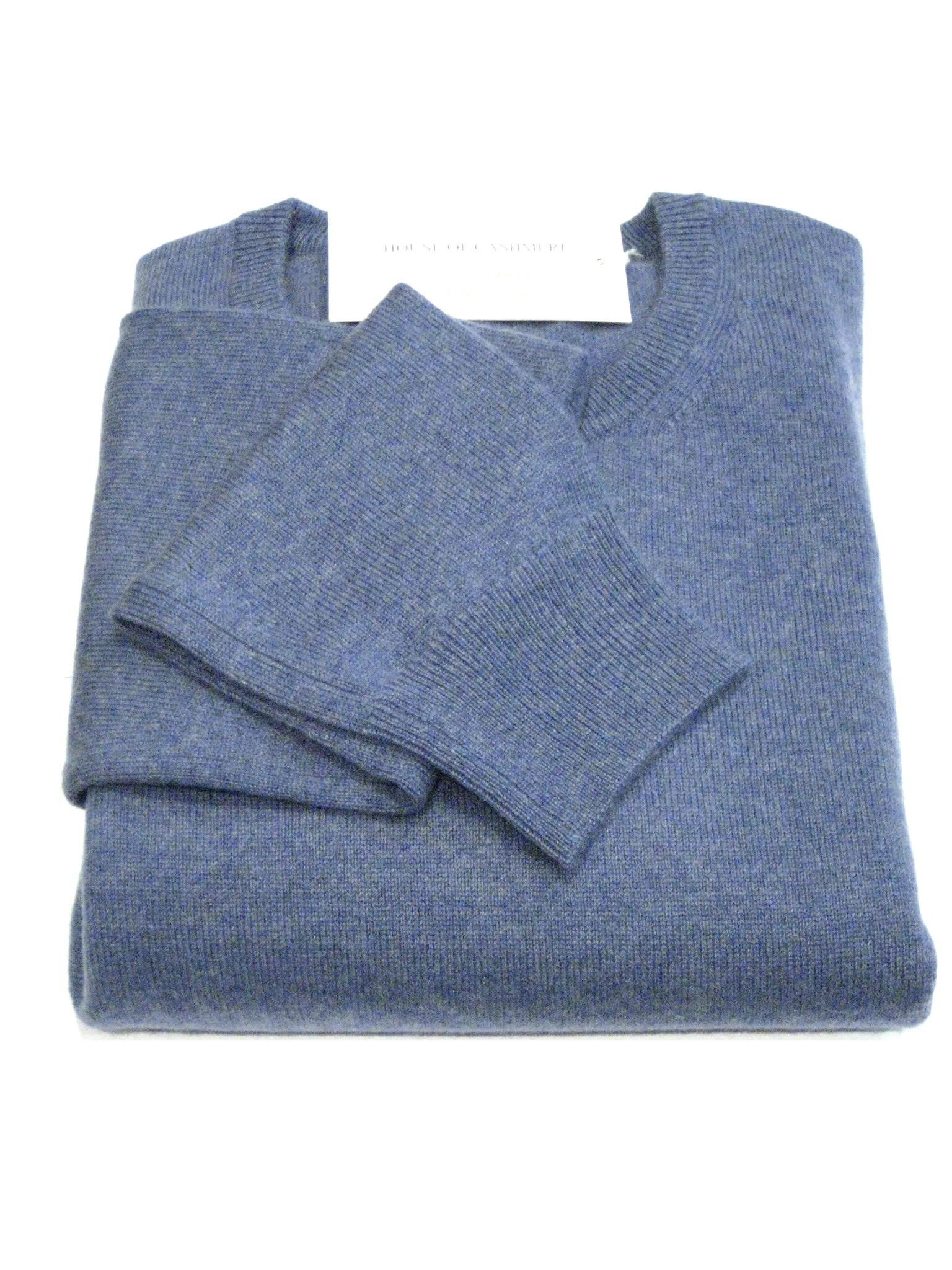 Denim Men's Crew Sweater - 100% Cashmere Made in Scotland