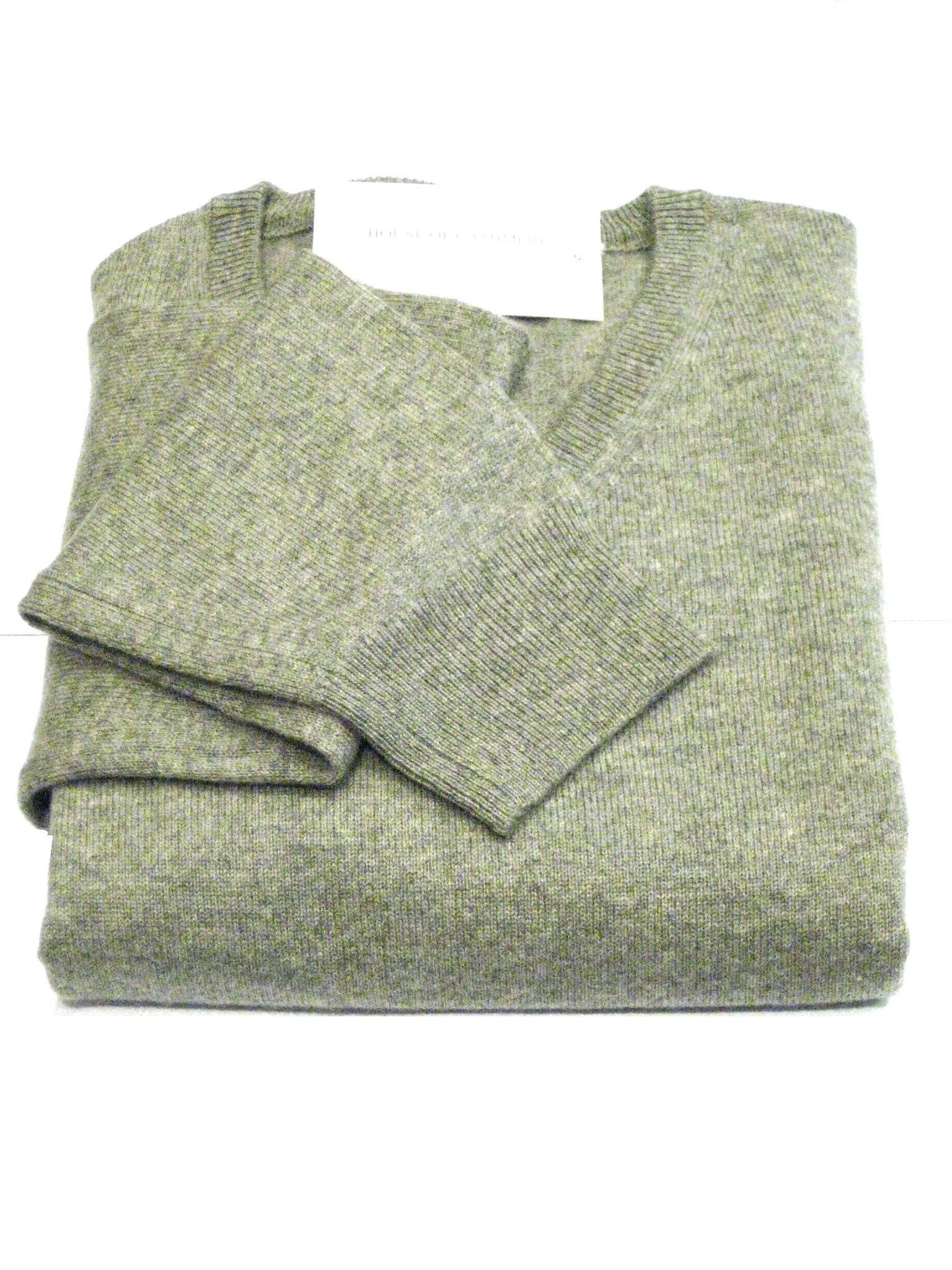 Light Grey Men's Crew Sweater - 100% Cashmere Made in Scotland