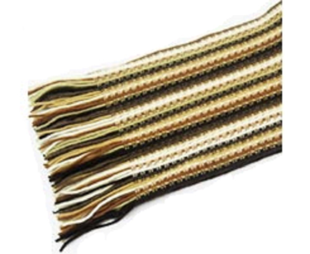 The Scarf Company Brown Striped Lace Stitch Cashmere Scarf