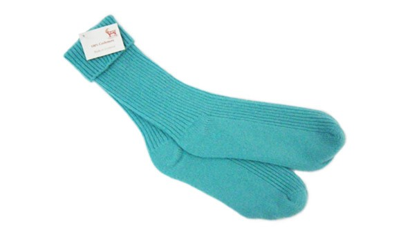 The Scarf Company Ladies' Azure Cashmere Rib Bed Socks