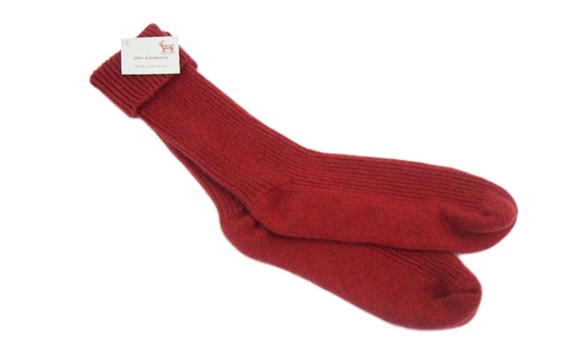The Scarf Company Ladies Protea Red Cashmere Rib Bed Socks