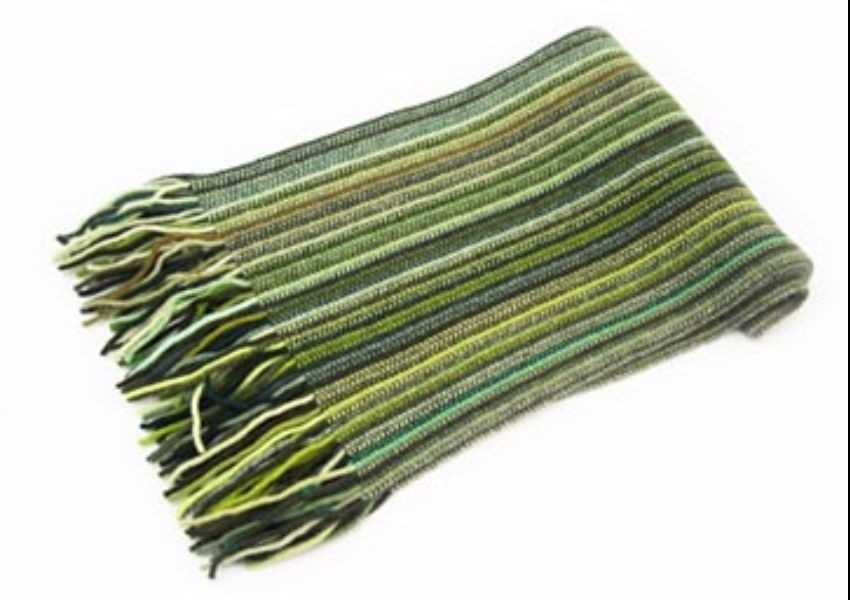 The Scarf Company Green Striped Lambswool Scarf