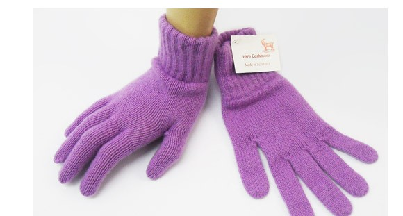 The Scarf Company Wisteria Purple 2 Ply Cashmere Ladies' Gloves