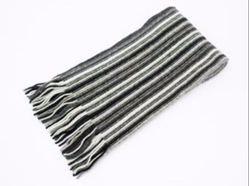 The Scarf Company Black & White Striped Cashmere Scarf