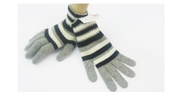 The Scarf Company Grey Striped  2 Ply Cashmere Ladies' Gloves