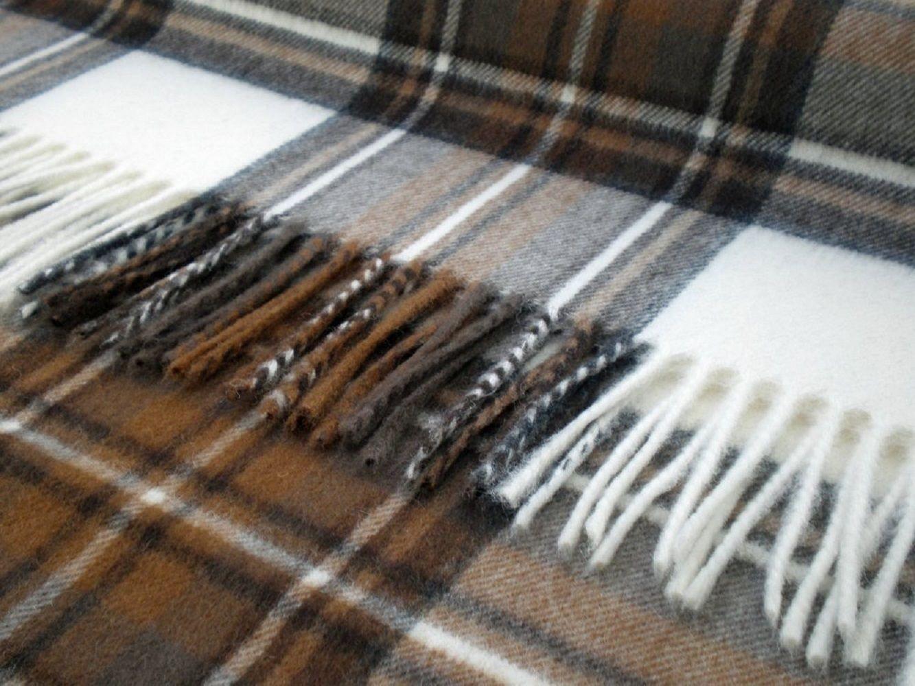 Bronte by Moon 100% Lambswool Tartan Throw - Natural Dress Stewart