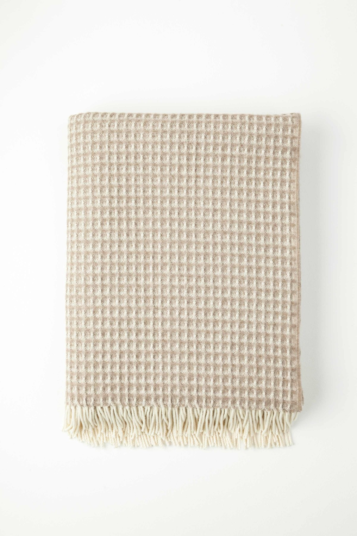 Johnston's of Elgin Cashmere Natural Honeycomb Throw - Natural Brown