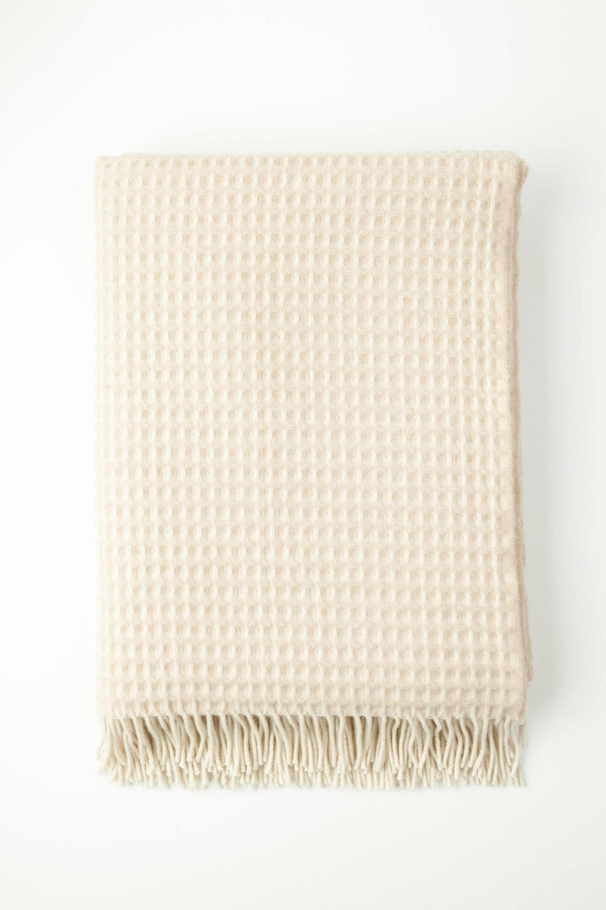 Johnston's of Elgin Cashmere Natural Honeycomb Throw - Natural White