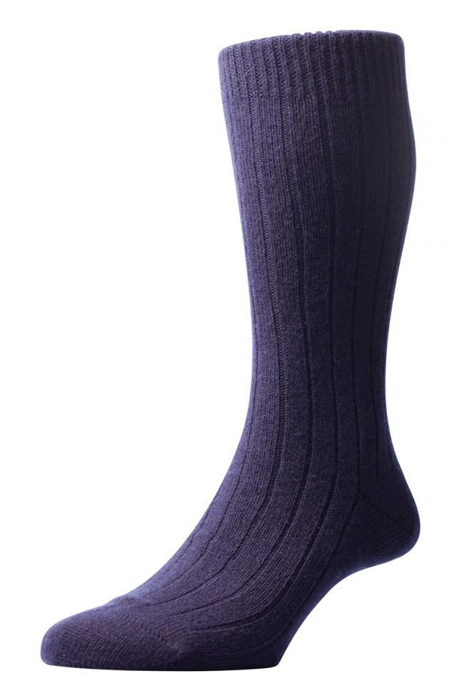 Pantherella Men's Waddington Cashmere Socks - Navy - Large