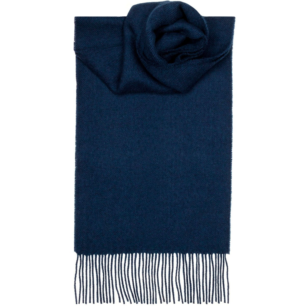 Navy Plain Coloured Tartan 100% Lambswool Scarf by Lochcarron
