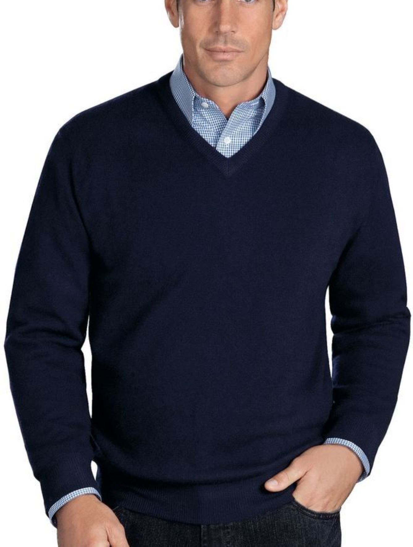 Navy Men's V-Neck Sweaters - 100% Cashmere Made in Scotland