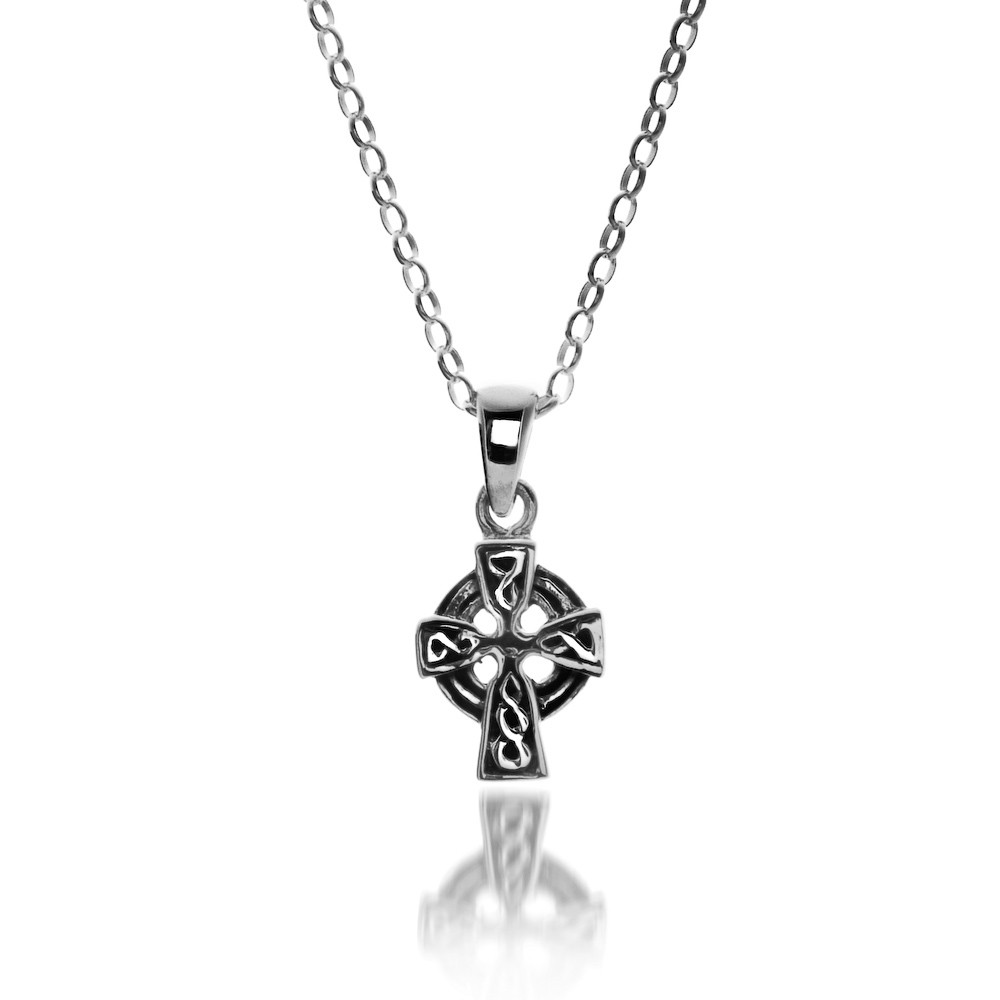 Celtic Cross Head Sterling Silver Pendant Necklace