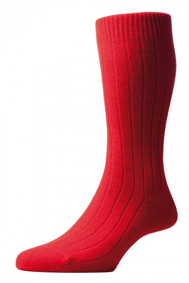 Pantherella Men's Waddington Cashmere Socks - Red - Medium