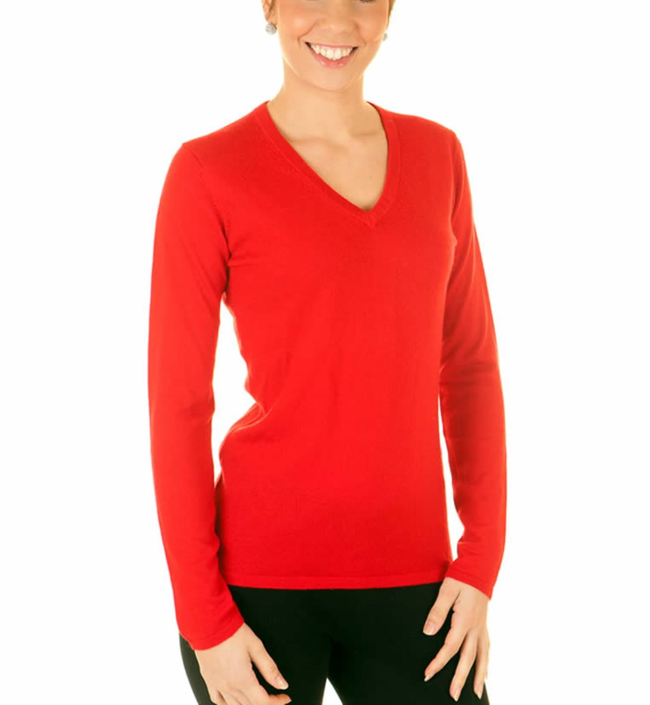 Red Ladies V-Neck Sweater - 100% Cashmere Made in Scotland